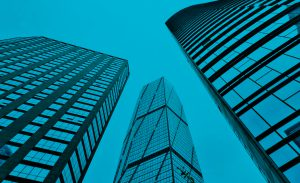 London office buildings blue