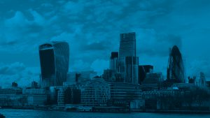 London skyline blue